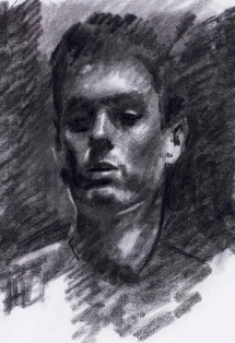 Portrait of a young man. 70x50cm. Charcoal on Ingres paper.