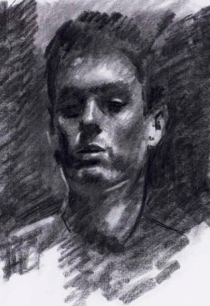 Portrait of a Young Man ~ Charcoal on Ingres paper, 70x50cm. Madrid, Spain