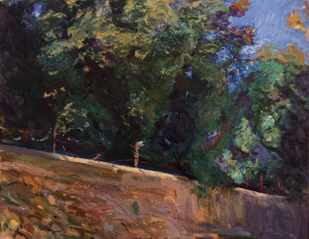 Wall with Trees. 70x90cm. Florence, Italy