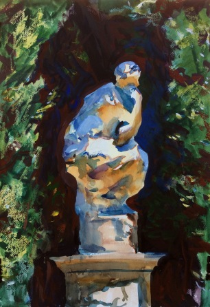 Sculpture in Summer Sun and Shade ~ 51x36cm. FLorence, Italy