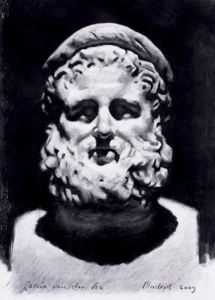 Roman Sculpture ~ Charcoal on Ingres paper. 70x50cm. Prado Museum. Madrid, Spain