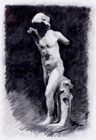 Hypno ~ Charcoal on Ingres paper. 70x50cm. Prado Museum. Madrid, Spain