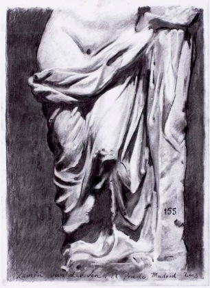 Roman Sculpture Drapery Study ~ Charcoal on Ingres paper. 70x90cm. Prado Museum. Madrid, Spain