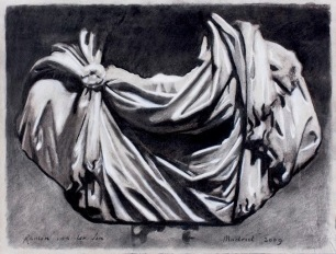 Roman Sculpture Drapery Study ~ Charcoal on Ingres paper. 50x70cm. Prado Museum. Madrid, Spain