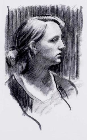 Liz ~ Charcoal on Ingres paper. 70x50cm. Granada, Spain
