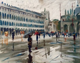 Waiting for the Painter ~ Oil on canvas, 80x100cm. Venice, Italy