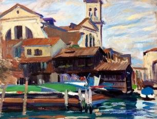 San Trovaso ~ Oil on canvas, 70x90cm. Venice, Italy