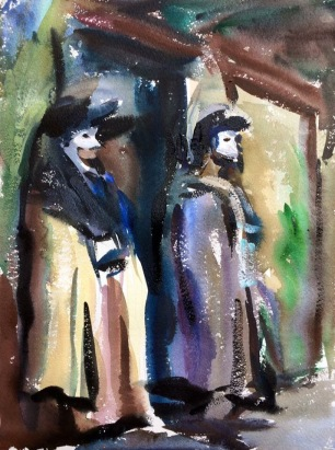 Mannequins with Venetian Masks ~ Watercolor, 41x31cm. Venice, Italy