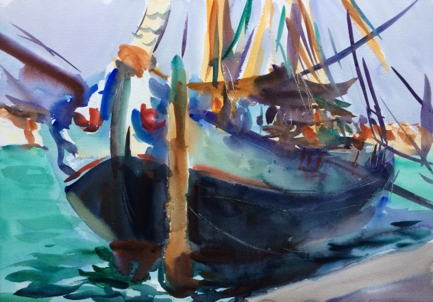 Old schooner. 36x51cm. Venice, Italy