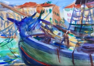 Trabacollo at Punta della Dogana ~ 36x51cm. Venice, Italy