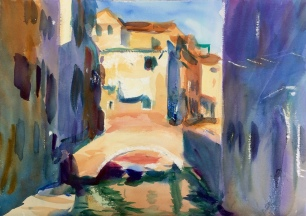 Side Canal in Afternoon Sun ~ 36x51cm. Venice, Italy