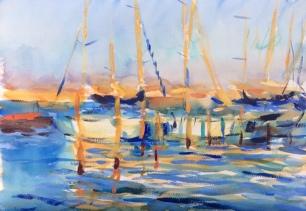 Sailboats by Sunset ~ 36x51cm. San Giorgi Maggiore. Venice, Italy