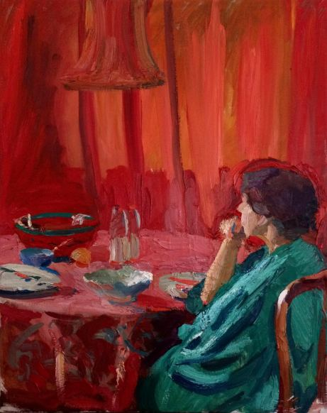 Ensemble in Red and Green ~ Oil on canvas, 100x80cm. FLorence, Italy