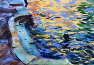 Steps at Rio del Carmine ~ 36x51cm. Venice, Italy