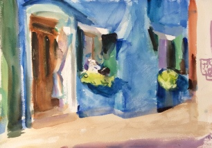 Blue House ~ Watercolor, 36x51cm. Venice, Italy