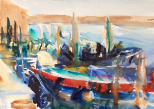 Harbor in Late Afternoon Light ~ Watercolor, 36x51cm. Burano, Italy