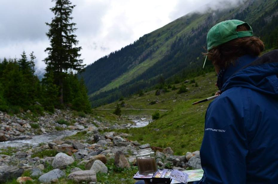 Painting a Watercolor in the Austrian Alps